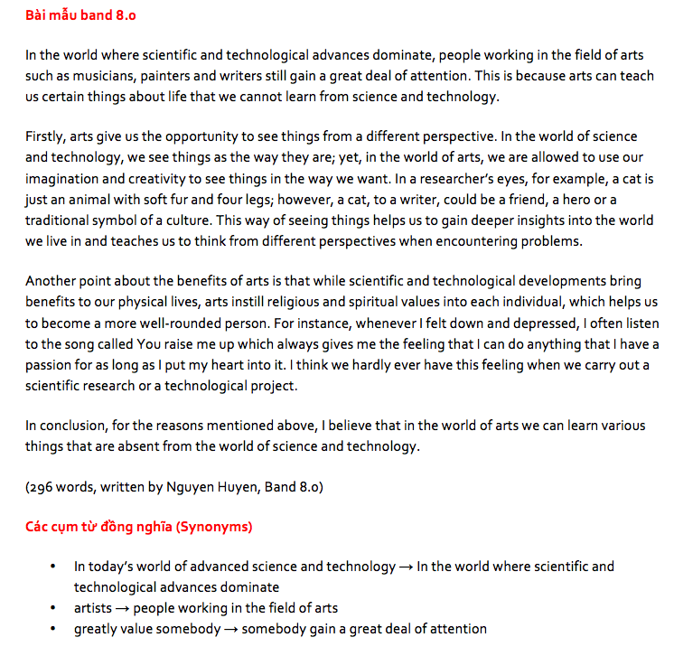 bài mẫu ielts writing 8.0 ngày 14/4/2018